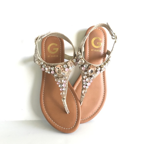 c9e2d6d470d G by Guess Shoes - Embellished pink and gold jeweled Guess sandals